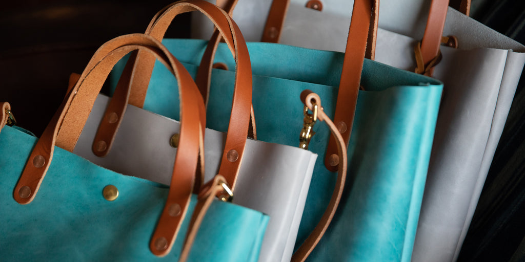 Aegean Blue and Pearl leather tote bags and mini tote bags at KMM & Co.