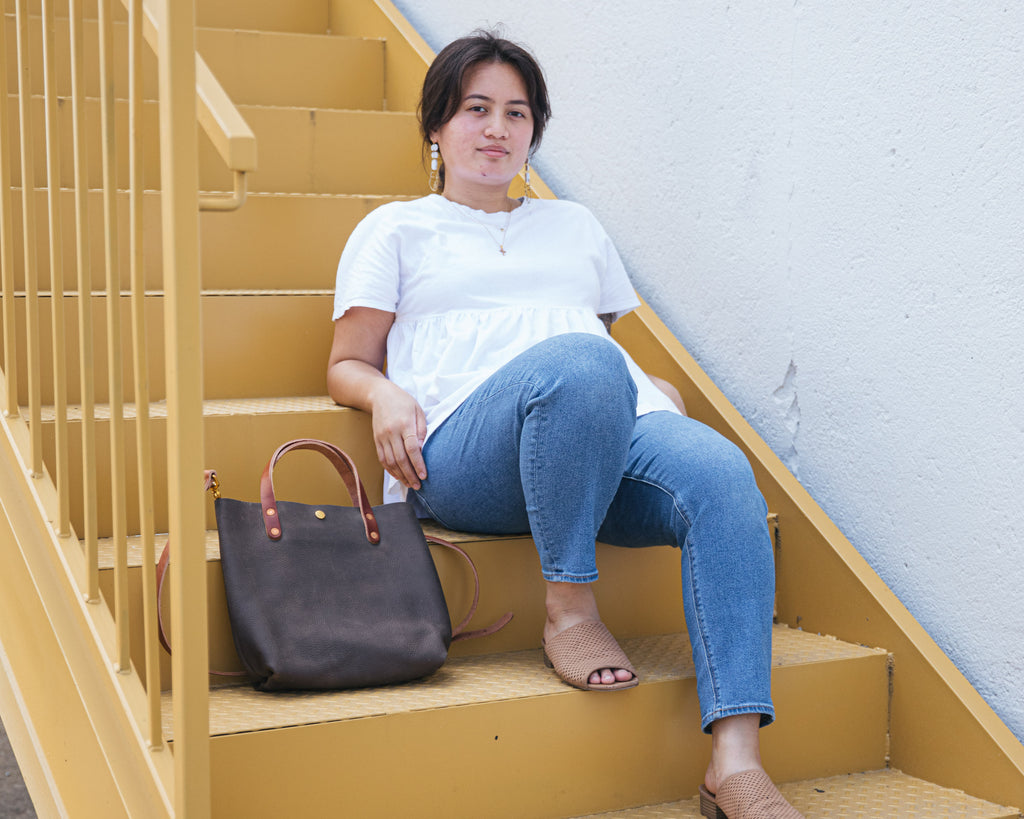 Grey Kodiak mini tote | grey leather tote bags and accessories at KMM & Co.
