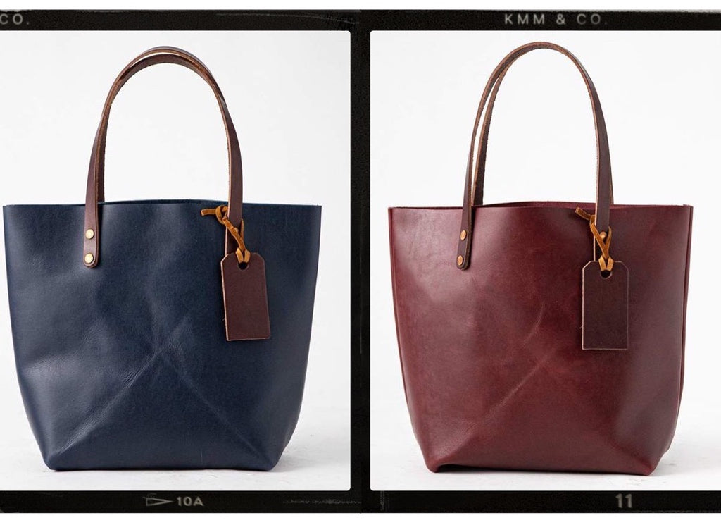 Navy leather tote and Port burgundy leather tote bag