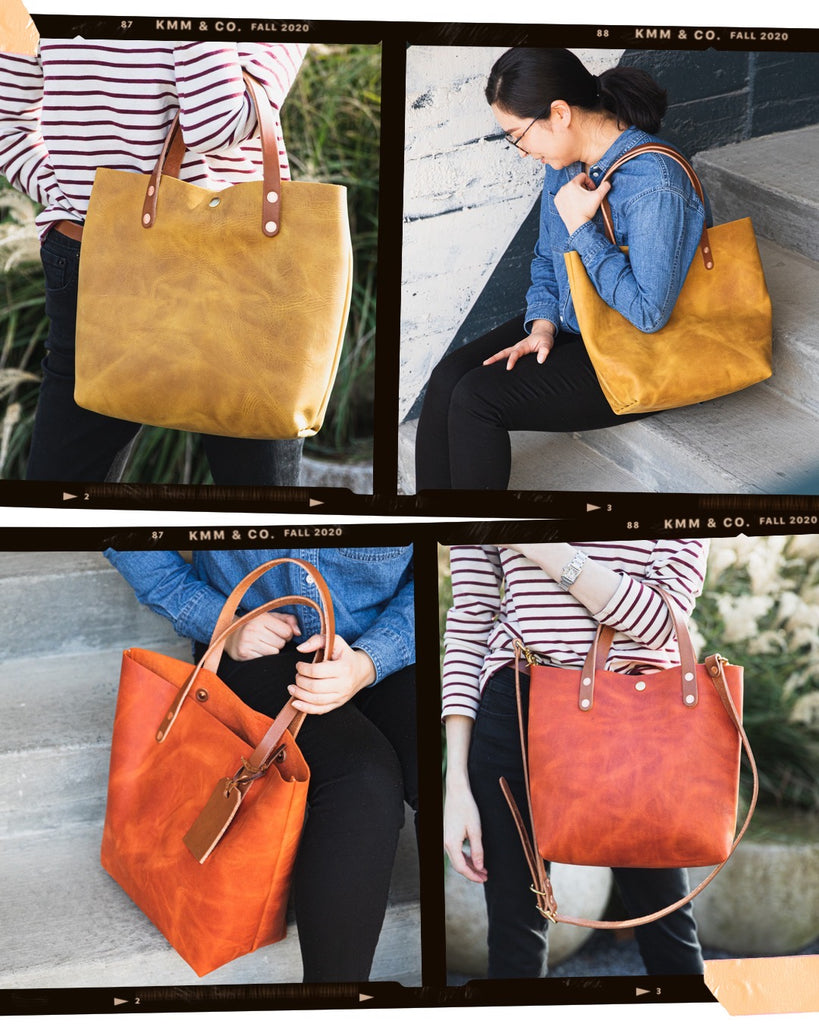 Mustard yellow and Paprika orange leather tote bags