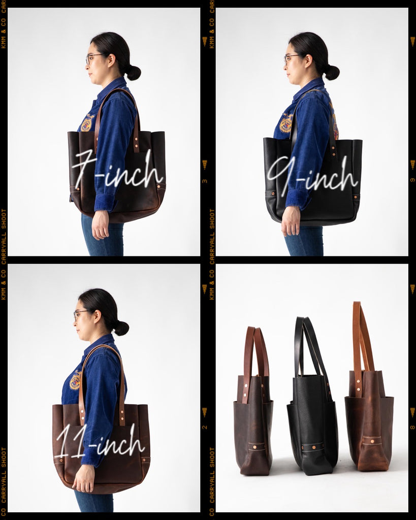Carryall leather tote bags handle lengths