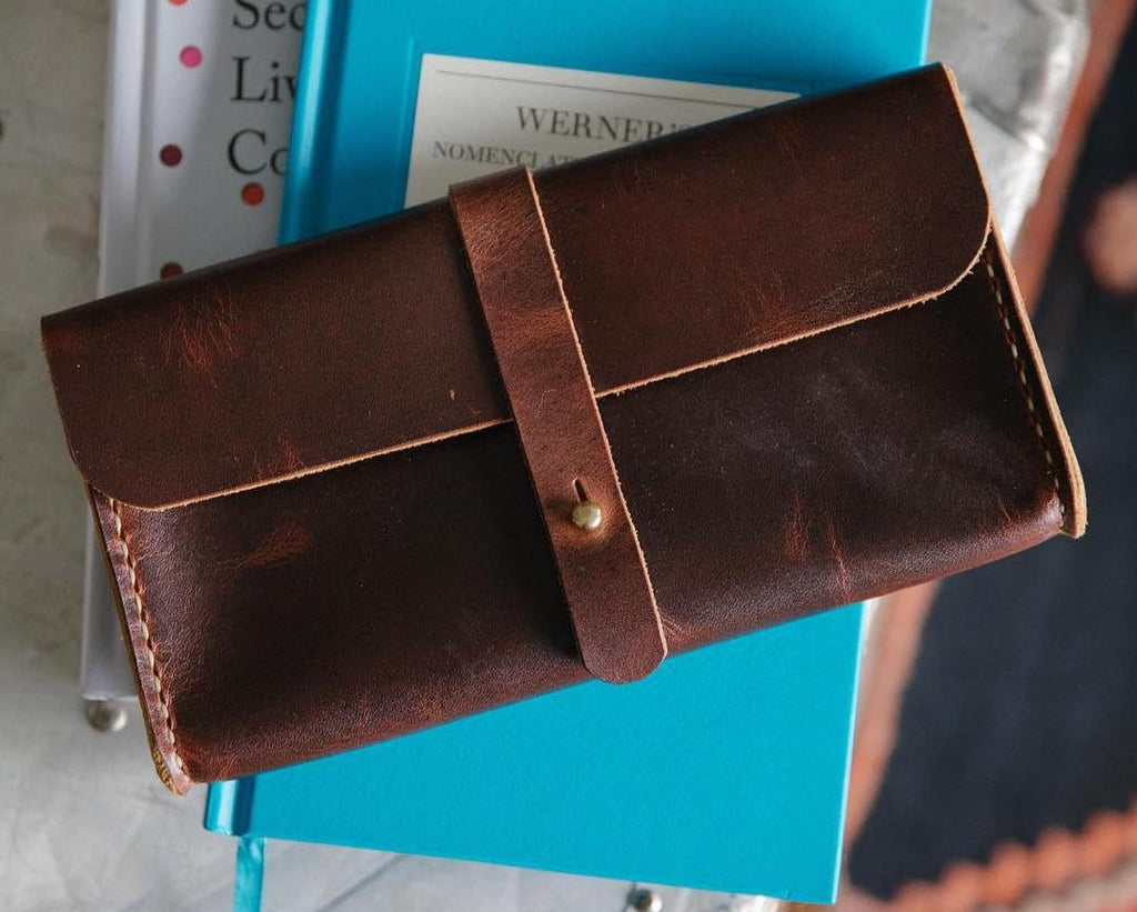 Leather clutch wallet | handmade leather wallet made in the USA at KMM & Co.