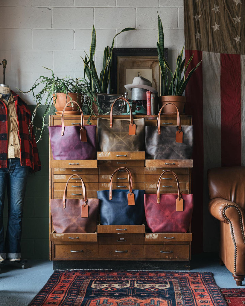 Kodiak leather tote bags at KMM & Co.