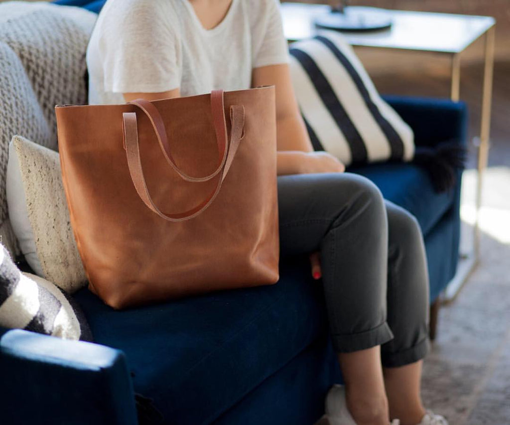 Tan leather tote bag at KMM & Co.