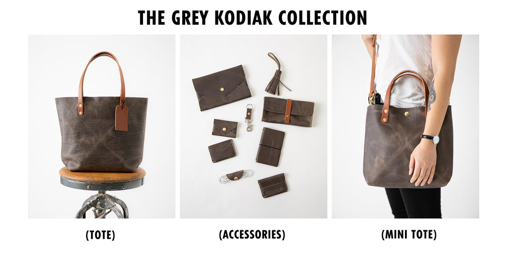 Grey Kodiak leather collection at KMM & Co.