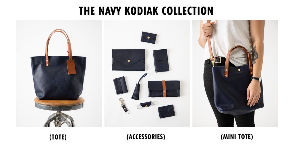 Navy Kodiak Leather collection at KMM & Co.