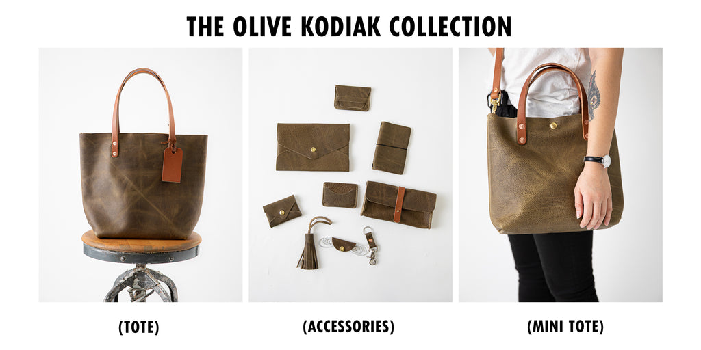 Olive Kodiak leather collection at KMM & Co.