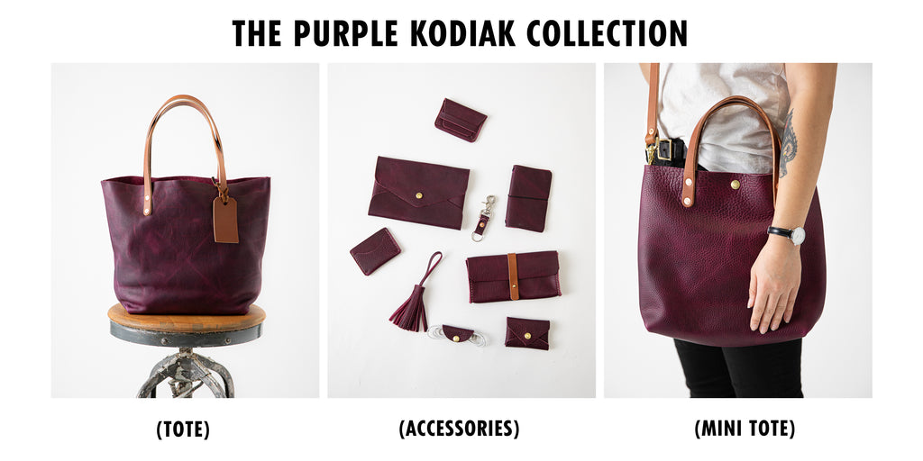 Purple Kodiak leather collection at KMM & Co.