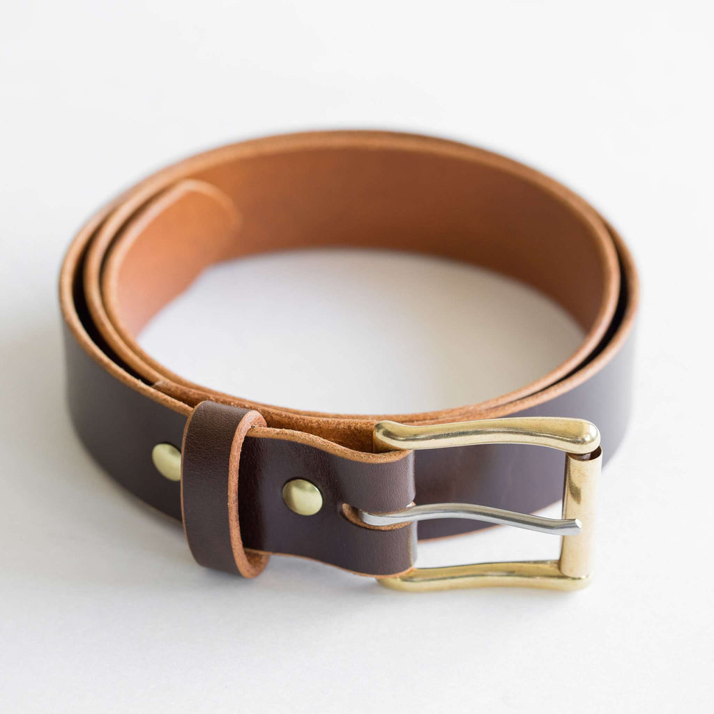 Brown leather belt with brass square roller buckle