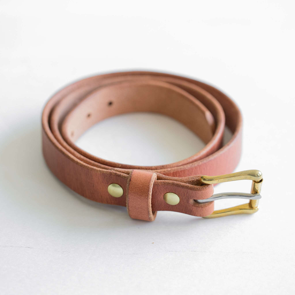 Tan harness leather belt with brass square roller buckle