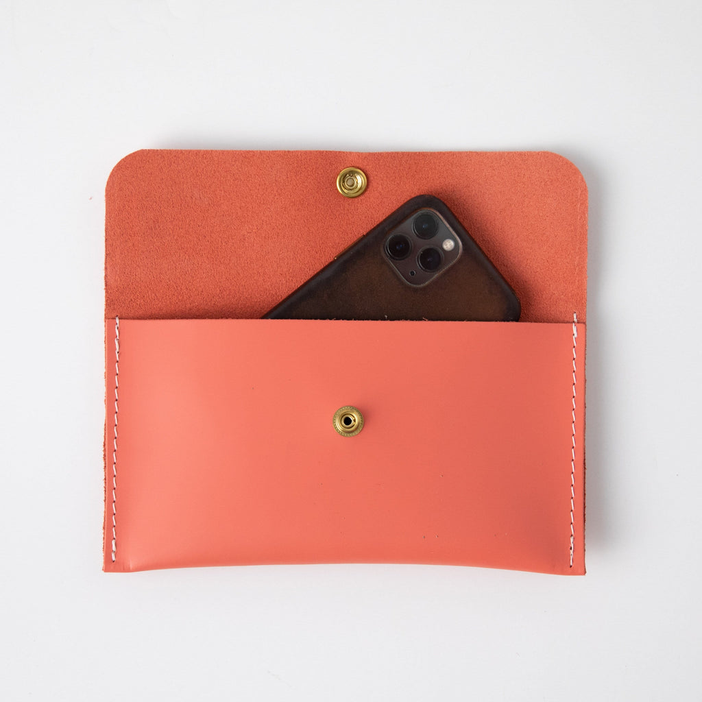 Coral Pink Leather Clutch