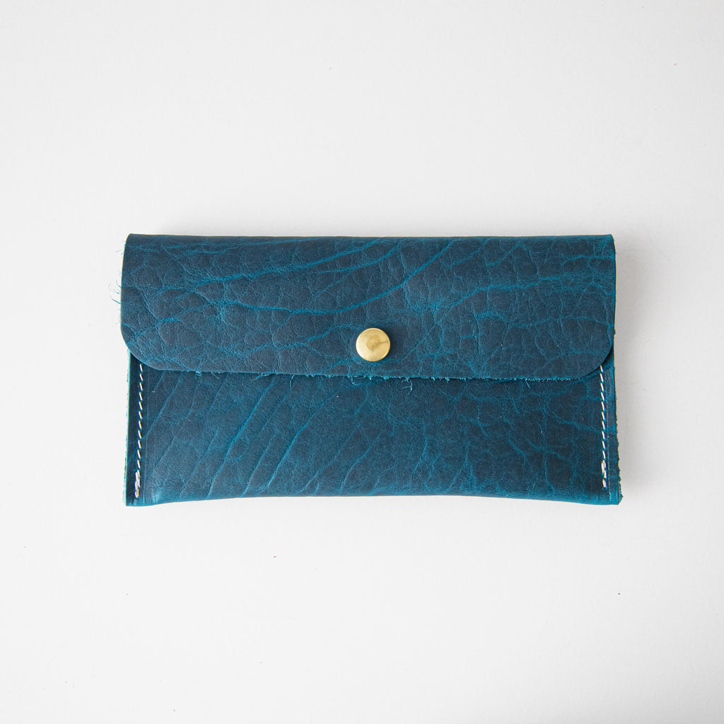 Petrol Blue Bison Leather Clutch