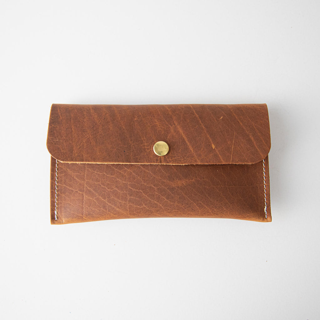 Honey Bison Leather Clutch
