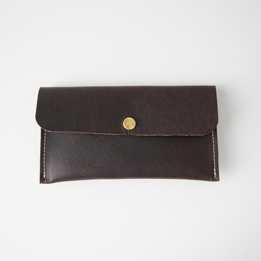 Brown Bison Leather Clutch