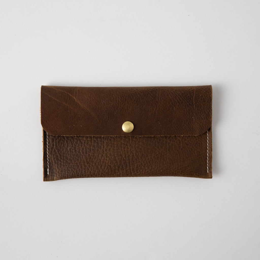 Olive Kodiak Leather Clutch
