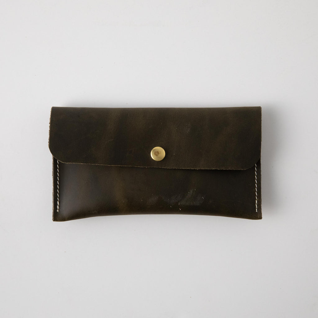 Forest Green Leather Clutch