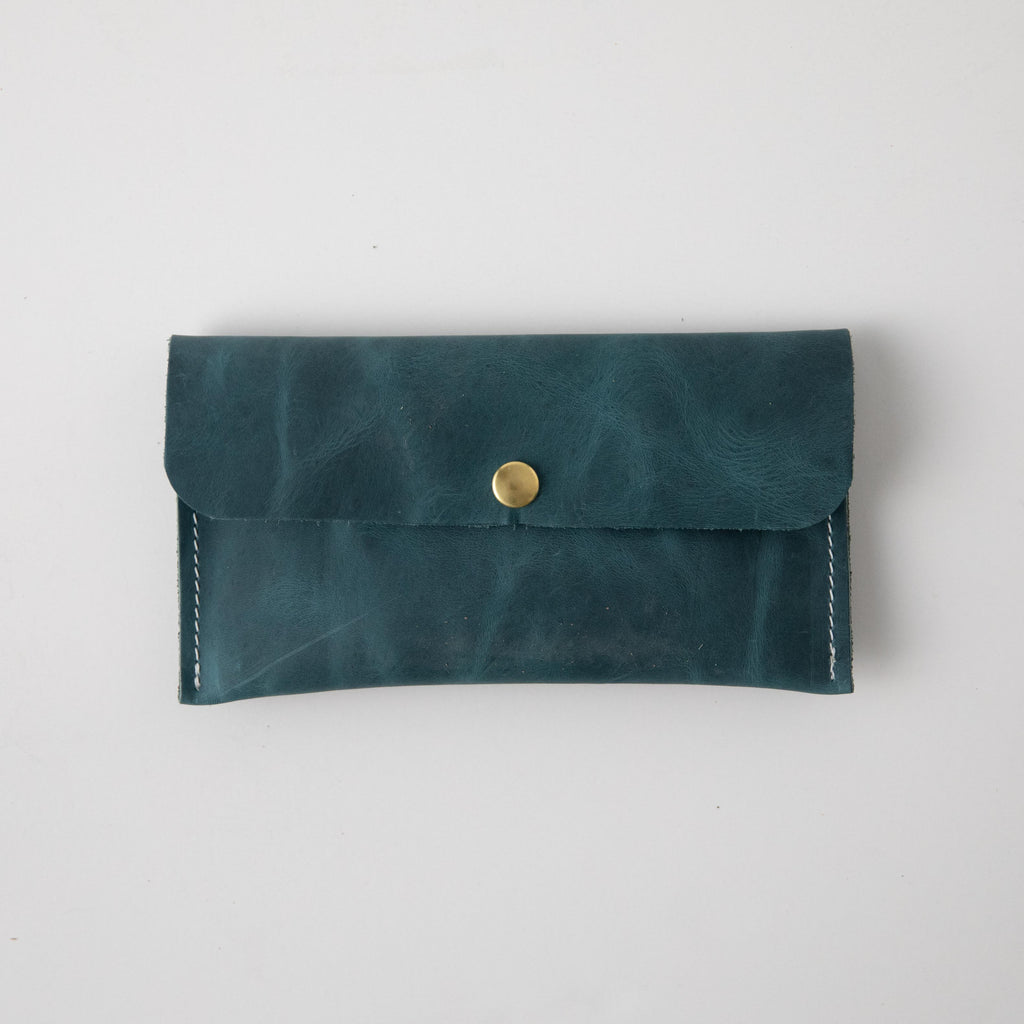 Atlantic Blue Leather Clutch