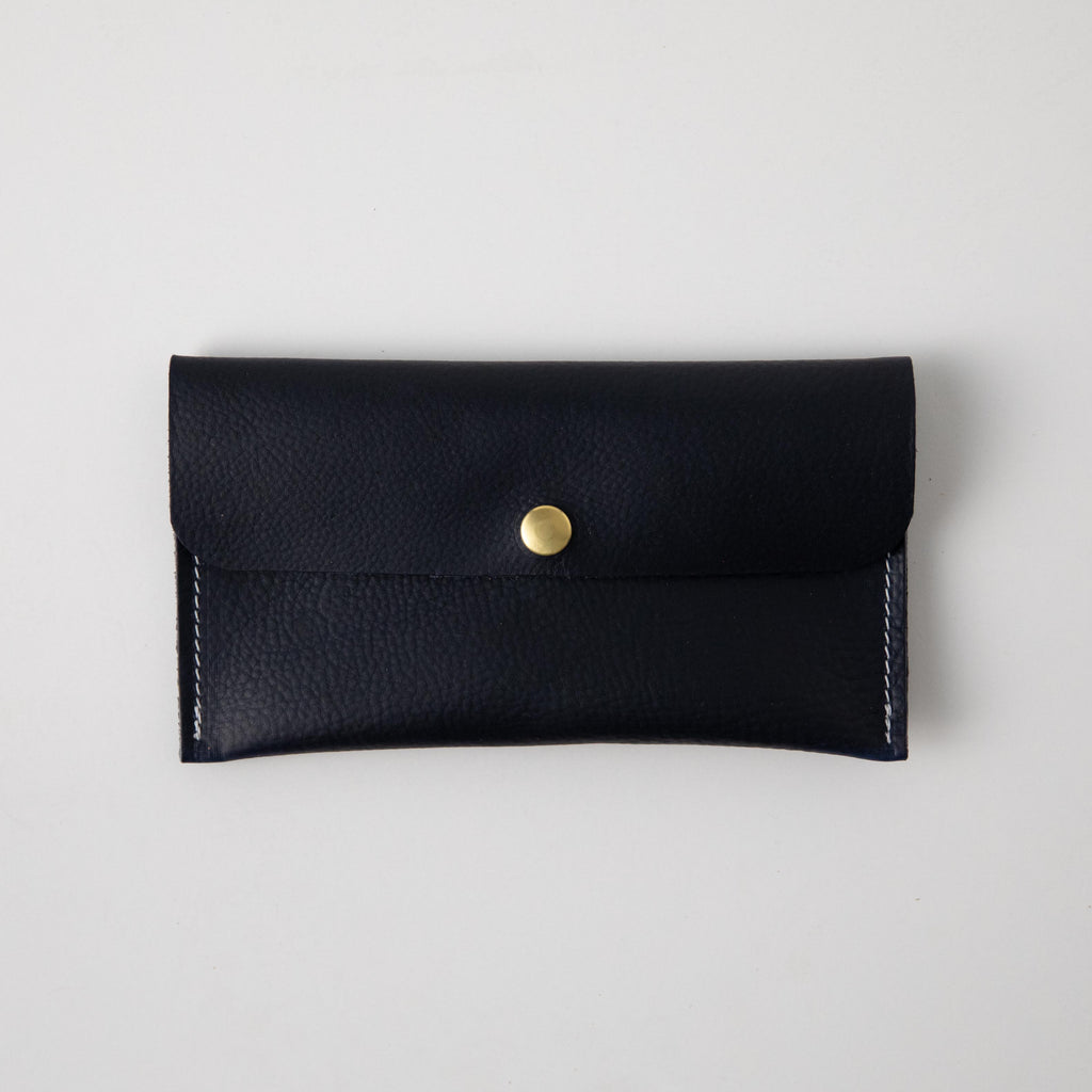 Navy Kodiak Leather Clutch