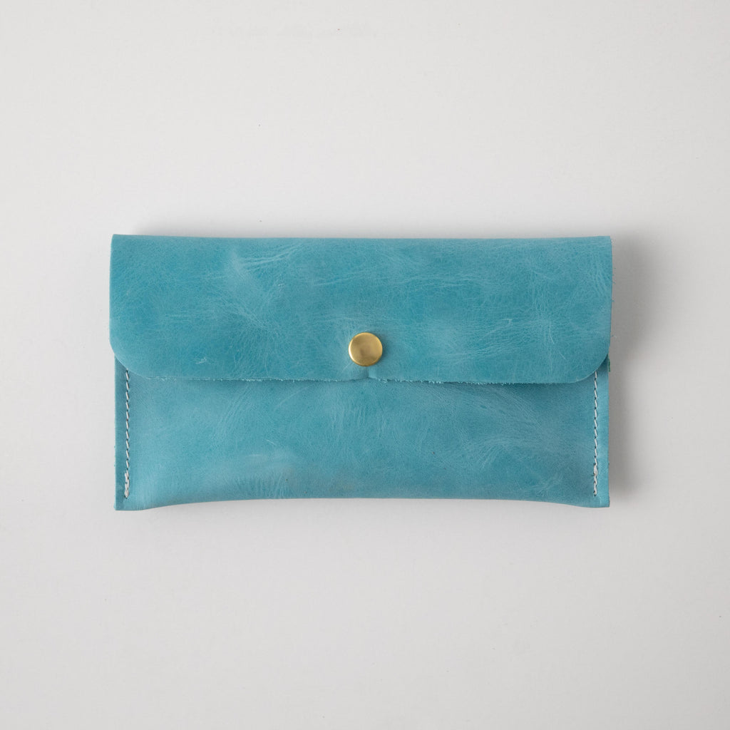 Aegean Blue Leather Clutch