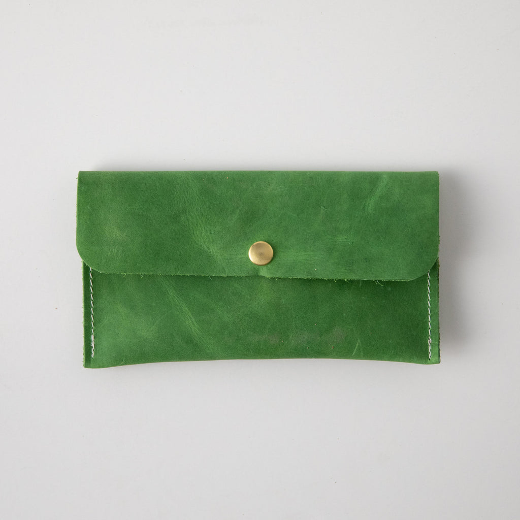 Palm Green Leather Clutch
