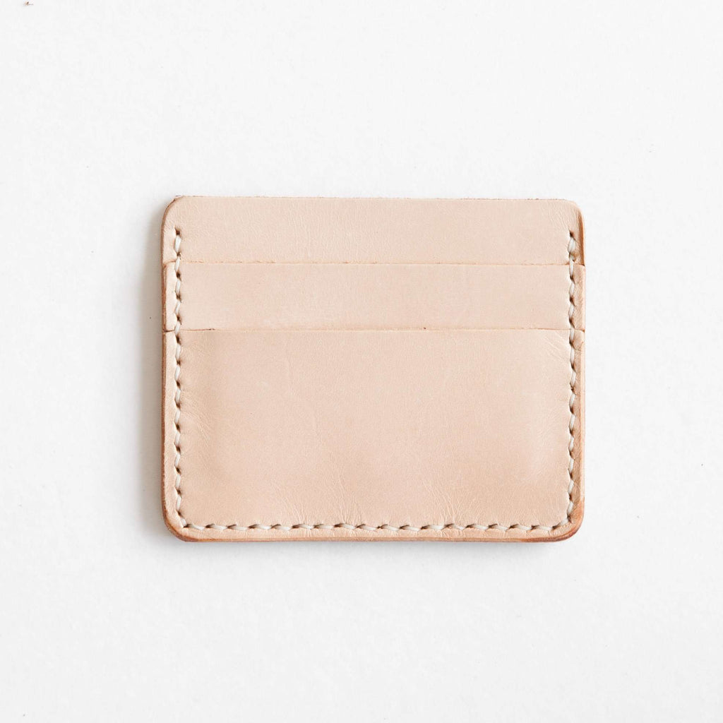 Vegetable tan leather card wallet