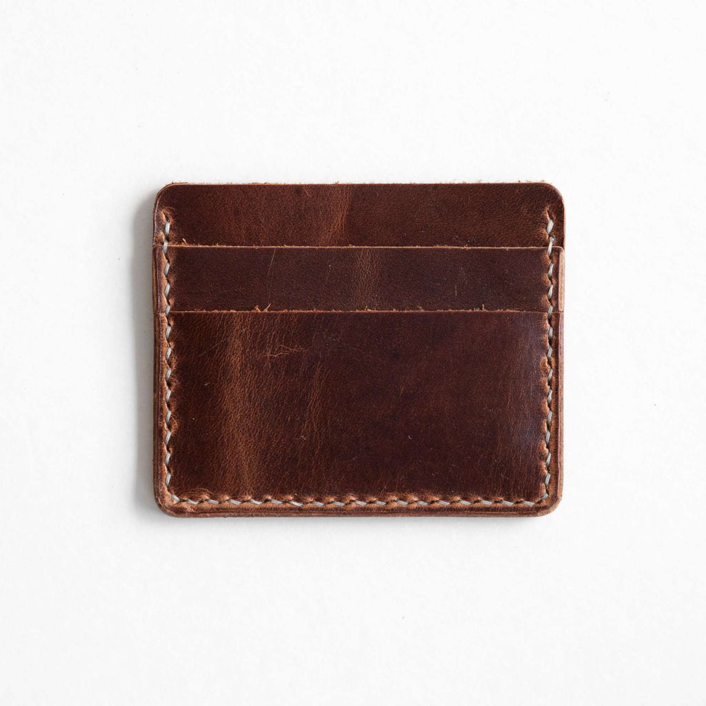 Distressed brown leather card wallet