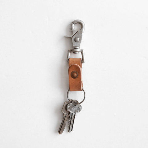 Vegetable tanned leather key clip with keys