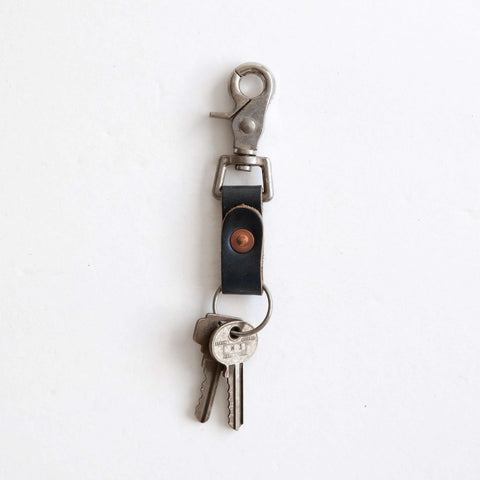Navy leather key clip with keys
