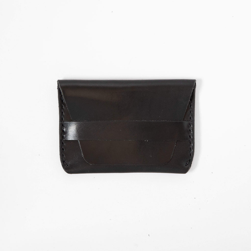 Black Flap Wallet- mens leather wallet - handmade leather wallets at KMM & Co.