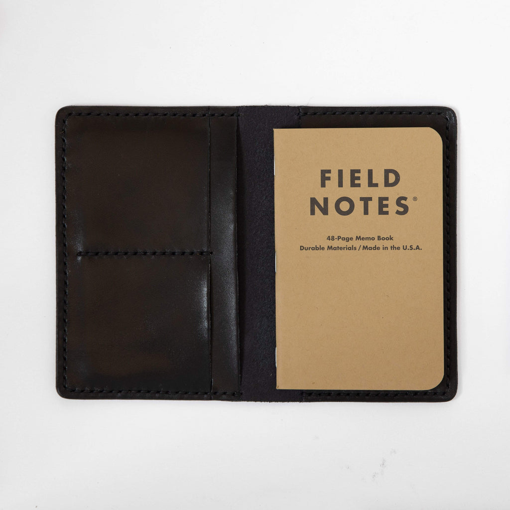 Black Notebook Wallet- leather notebook cover - passport holder - KMM & Co.