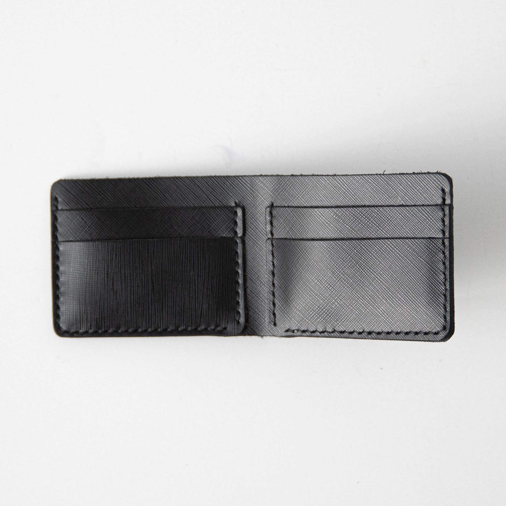 Black Saffiano Billfold- leather billfold wallet - mens leather bifold wallet - KMM & Co.