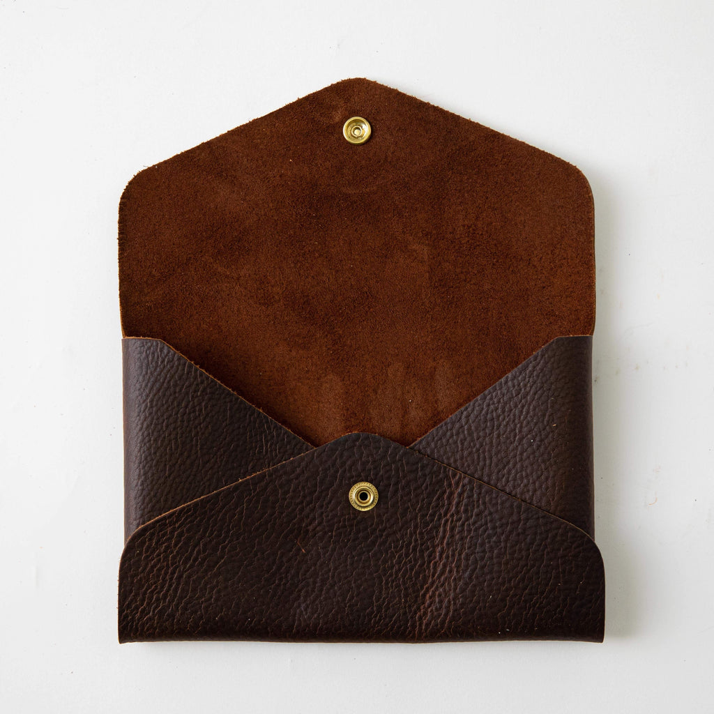 Brown Kodiak Envelope Clutch- leather clutch bag - handmade leather bags - KMM & Co.