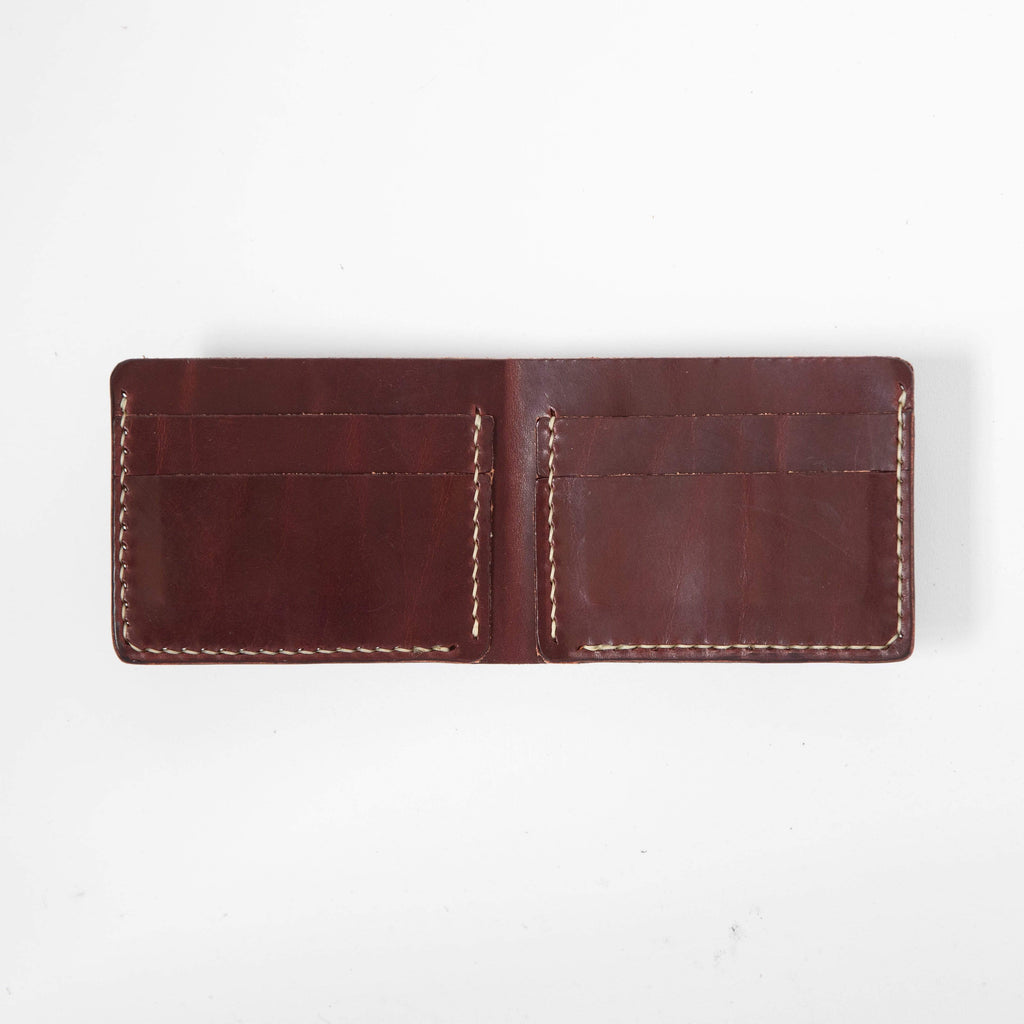 Burgundy Billfold- leather billfold wallet - mens leather bifold wallet - KMM & Co.