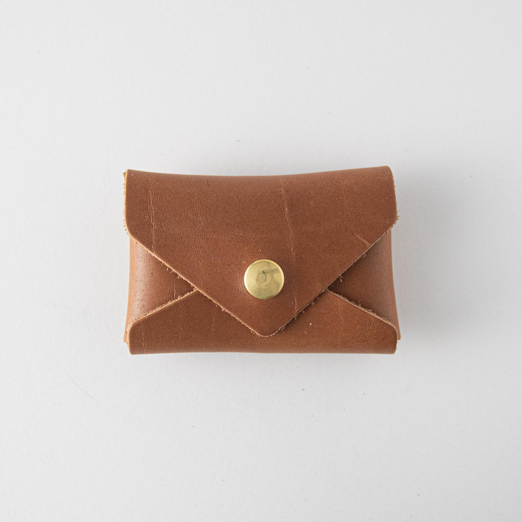 Cognac Card Envelope- card holder wallet - leather wallet made in America at KMM & Co.