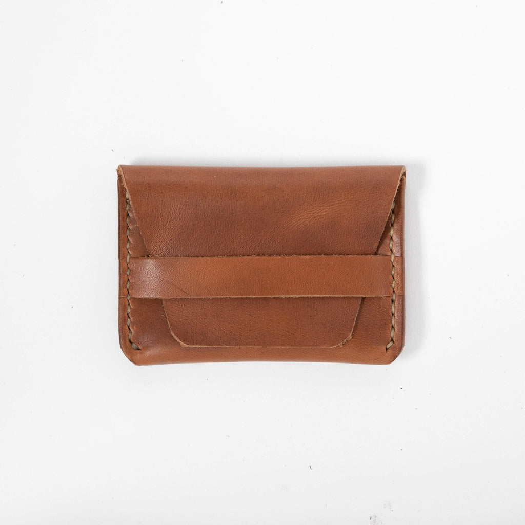 Cognac Flap Wallet- mens leather wallet - handmade leather wallets at KMM & Co.