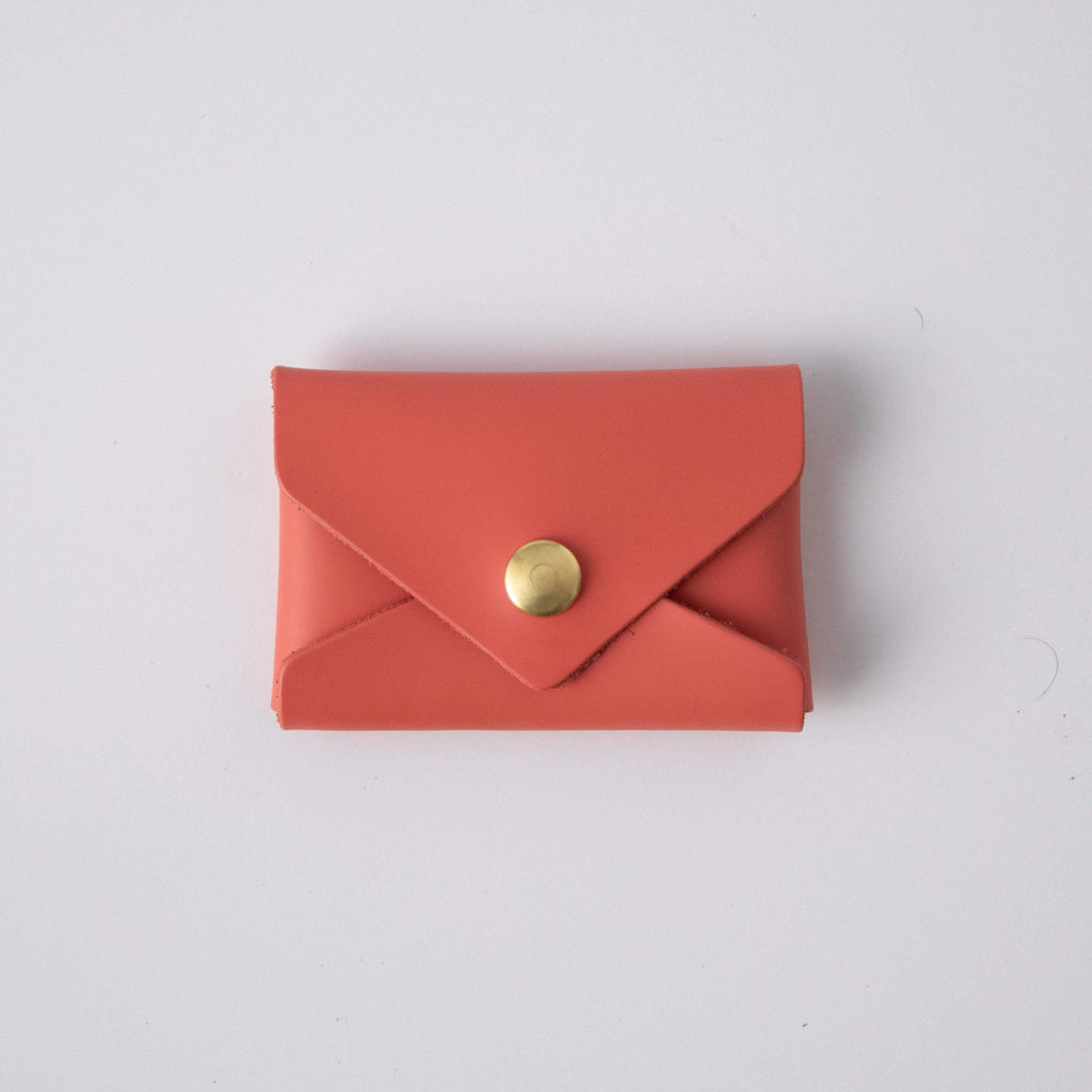 Coral Pink Card Envelope- card holder wallet - leather wallet made in America at KMM & Co.