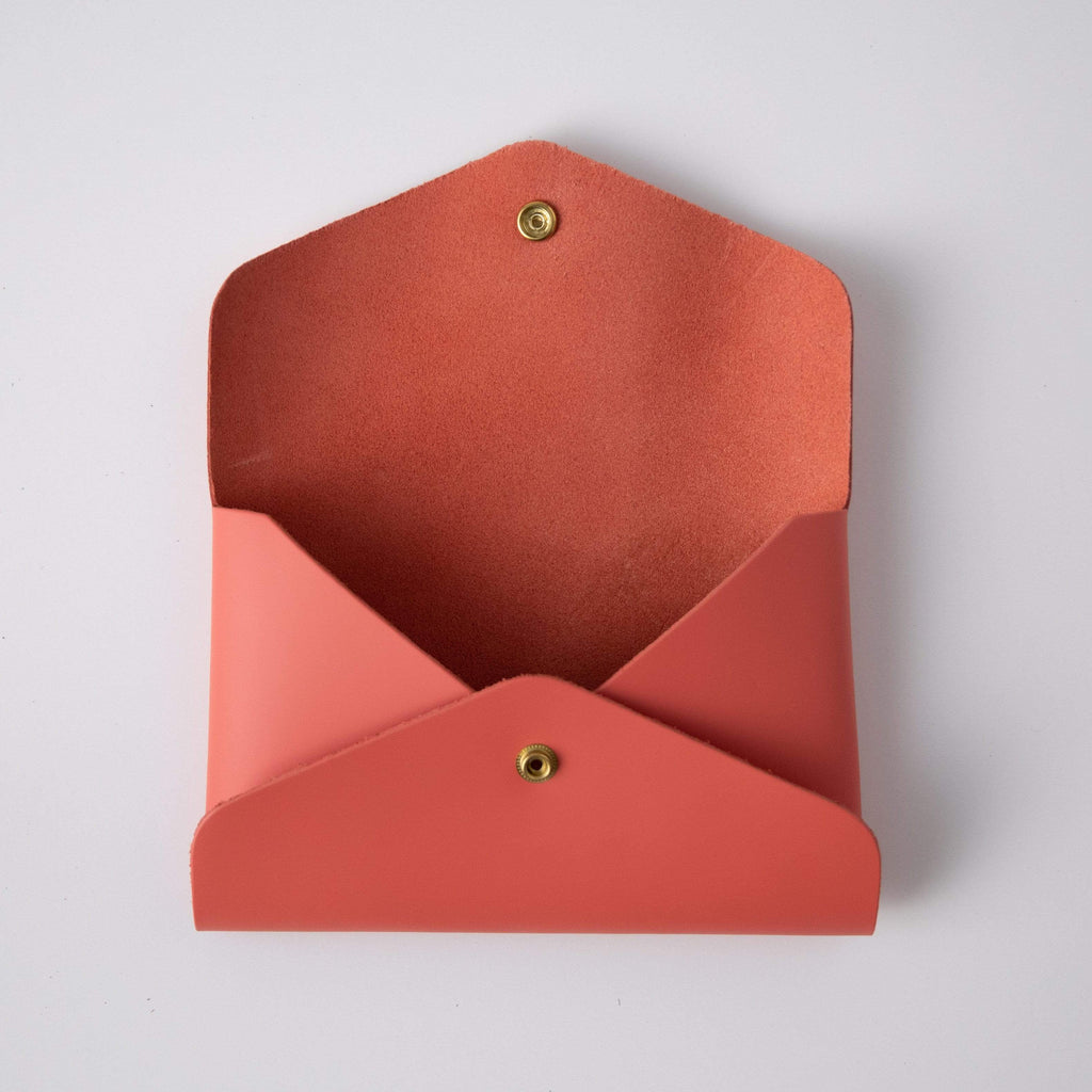 Coral Pink Envelope Clutch- leather clutch bag - handmade leather bags - KMM & Co.