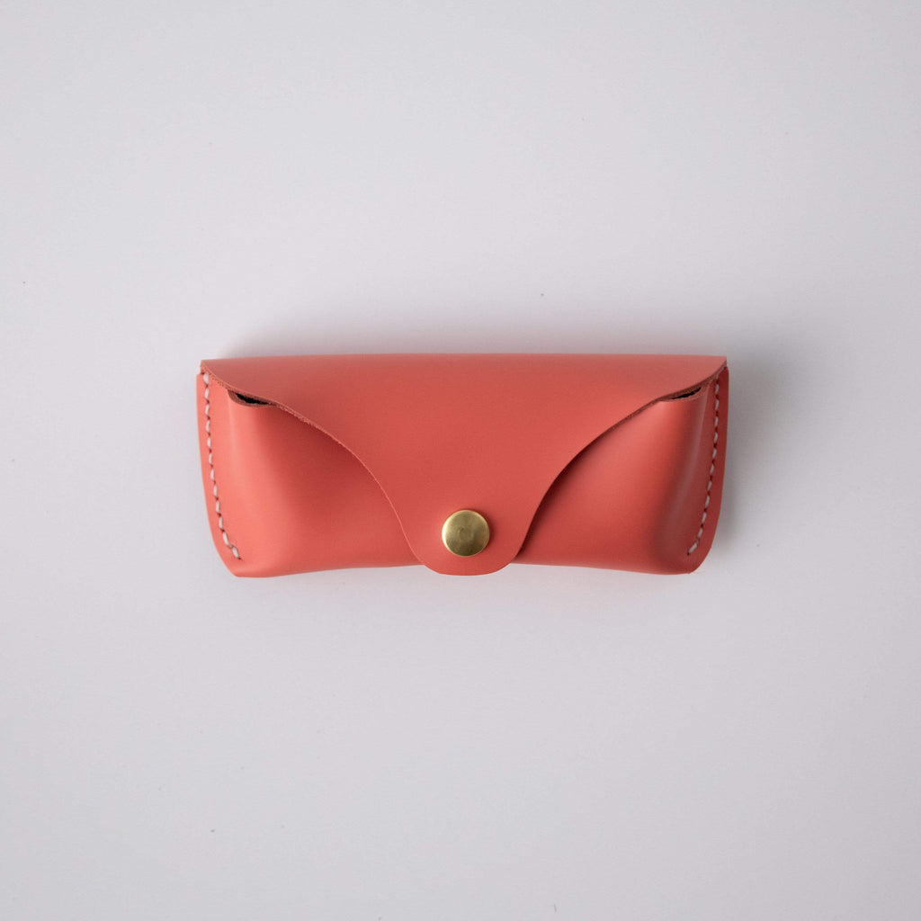 Coral Pink Sunglasses Case- leather glasses case - KMM & Co.
