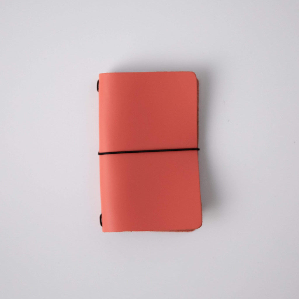 Coral Pink Travel Notebook- leather journal - leather notebook - KMM & Co.
