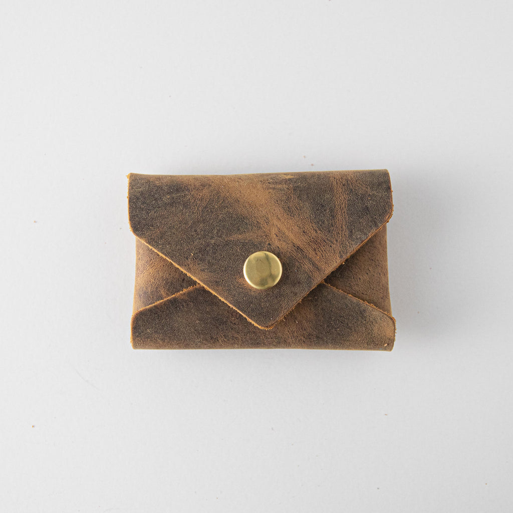 Crazy Horse Card Envelope- card holder wallet - leather wallet made in America at KMM & Co.