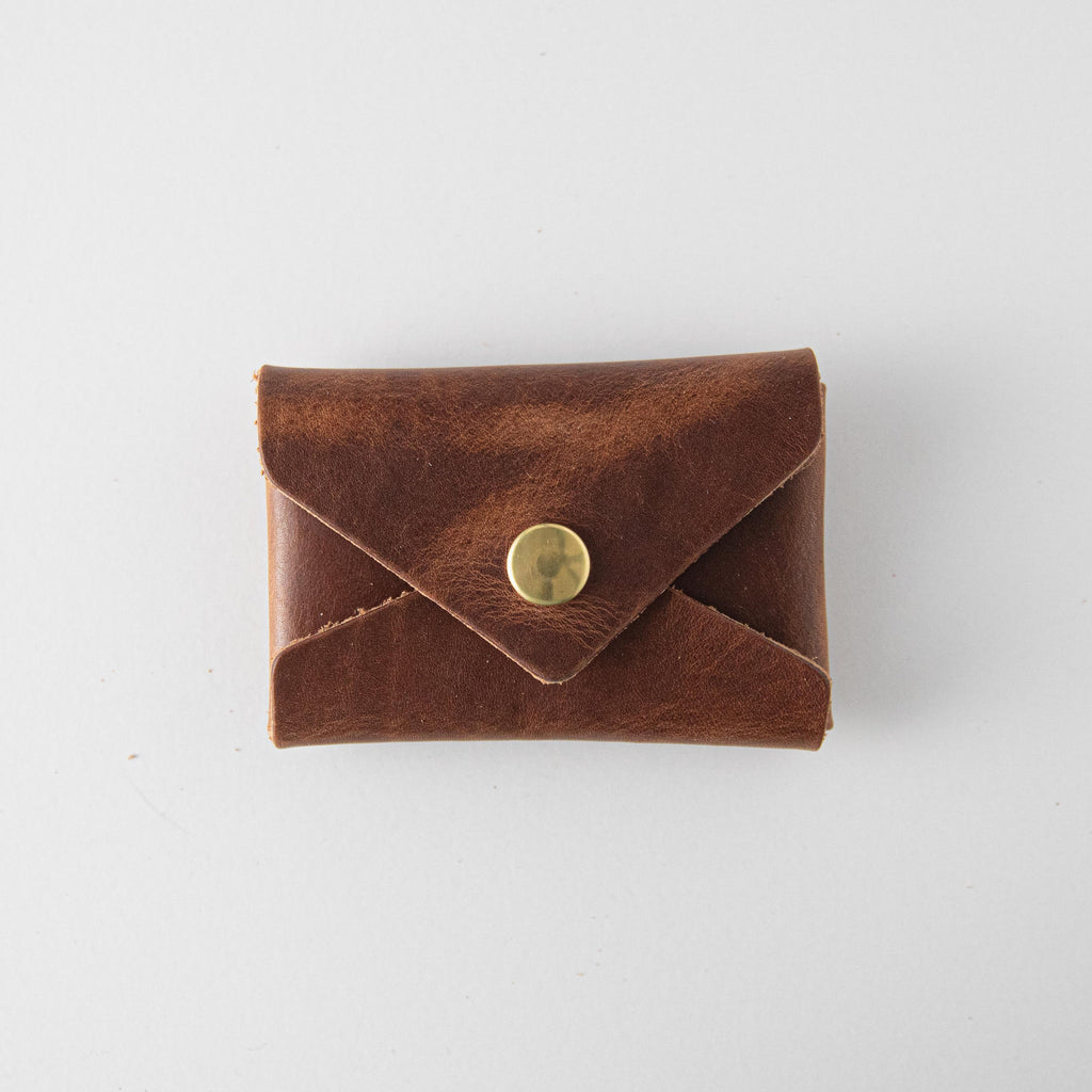 English Tan Card Envelope- card holder wallet - leather wallet made in America at KMM & Co.