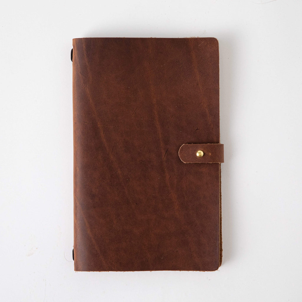 English Tan Travel Journal- leather journal - leather notebook - KMM & Co.