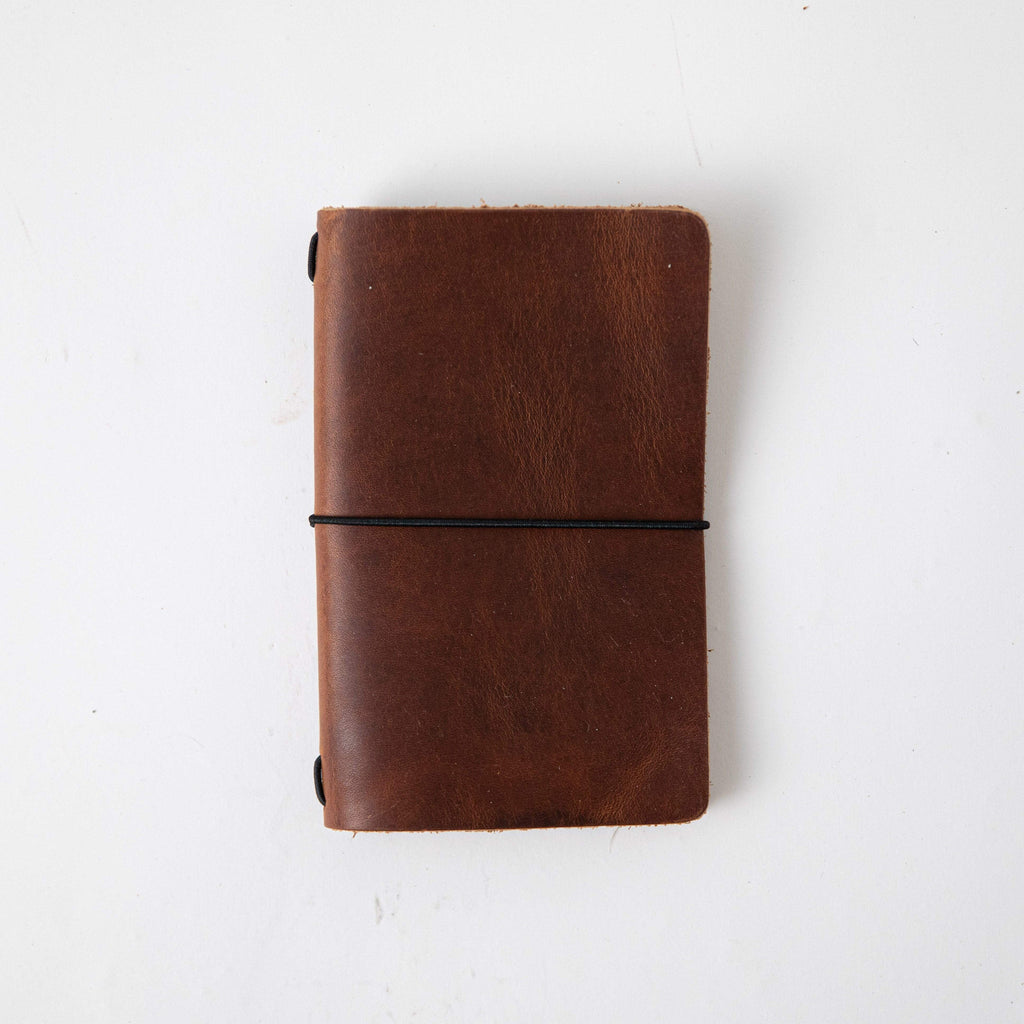 English Tan Travel Notebook- leather journal - leather notebook - KMM & Co.