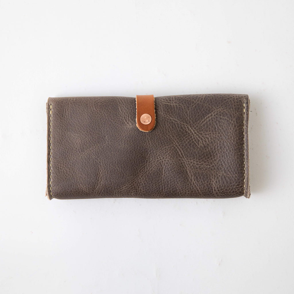 Grey Kodiak Clutch Wallet- leather clutch bag - leather handmade bags - KMM & Co.