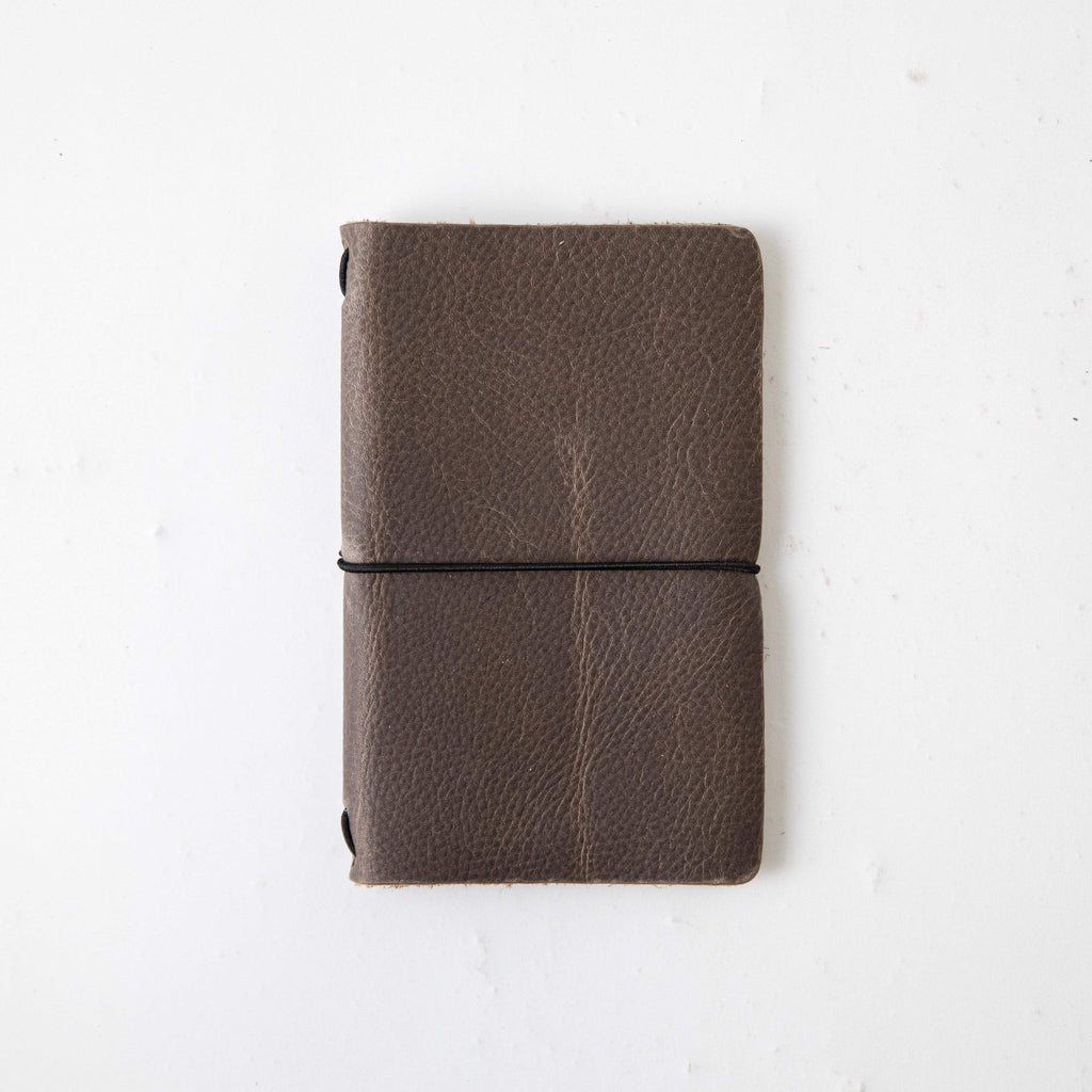 Grey Kodiak Travel Notebook- leather journal - leather notebook - KMM & Co.