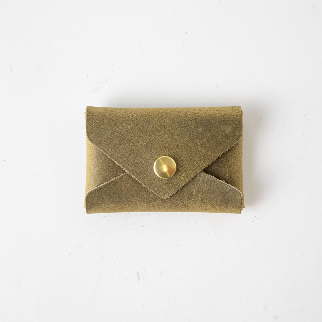 Moss Card Envelope- card holder wallet - leather wallet made in America at KMM & Co.