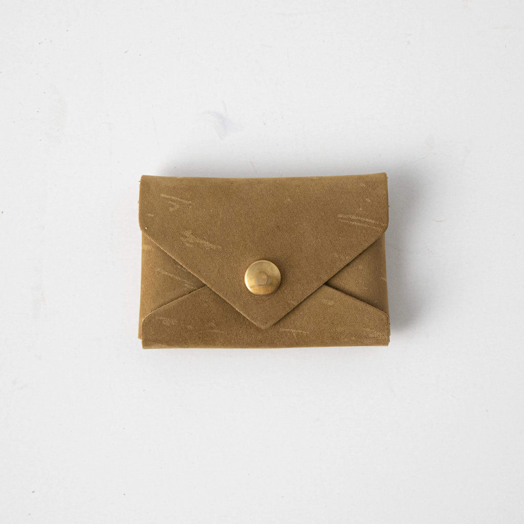 Mustard Green Card Envelope- card holder wallet - leather wallet made in America at KMM & Co.
