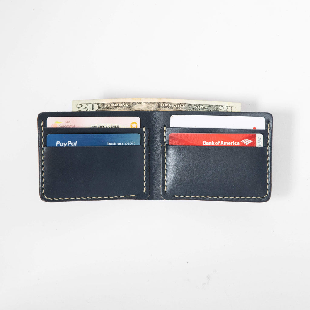 Navy Billfold- leather billfold wallet - mens leather bifold wallet - KMM & Co.