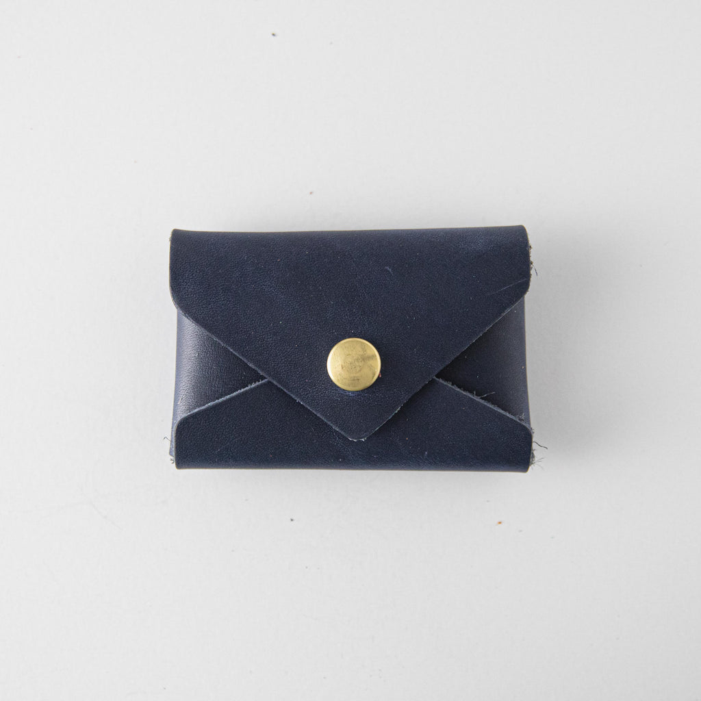 Navy Card Envelope- card holder wallet - leather wallet made in America at KMM & Co.