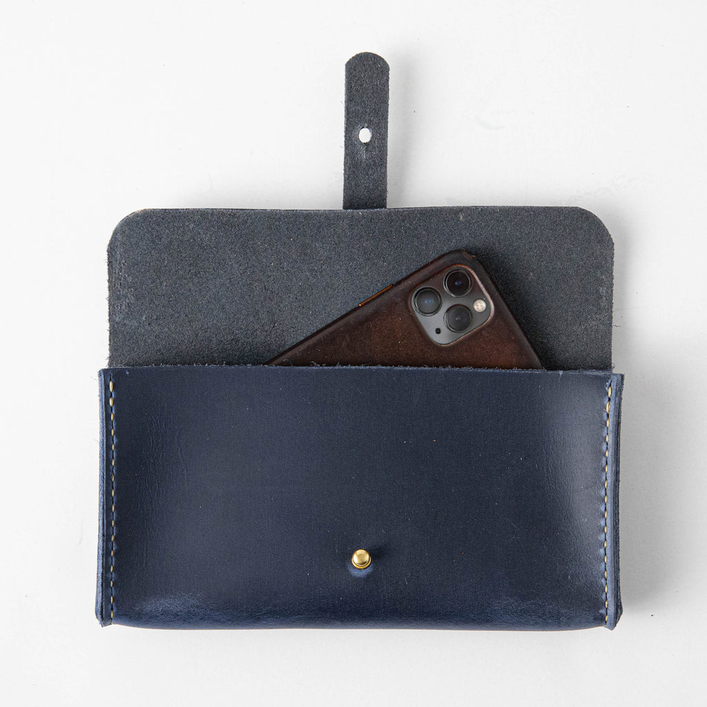 Navy Clutch Wallet- leather clutch bag - leather handmade bags - KMM & Co.